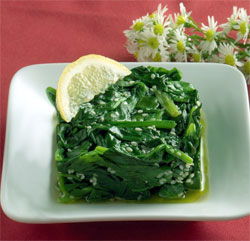 Spinach and Sesame seeds